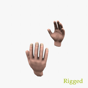 hands rig animations 3D model