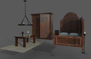 3D model old bedroom bed