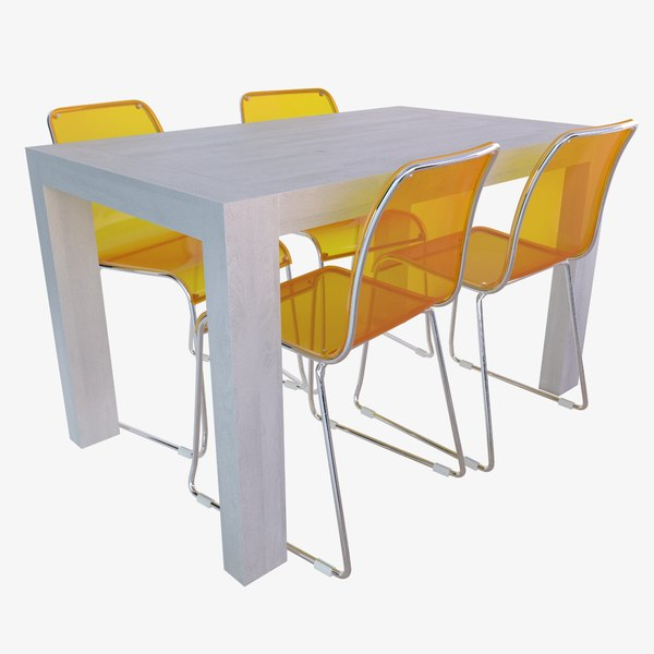 oak table plastic modern chairs 3D