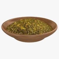 3D green tea leaves