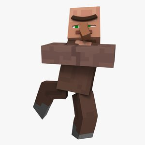 minecraft villager character rigged 3D model