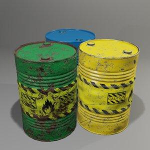 3D barrel industrial container model