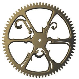 3D seteampunk metal spur gear model