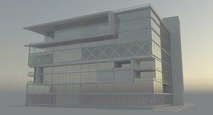 building glass office architecture 3D model