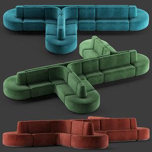3D model hmd interiors bistro sofa