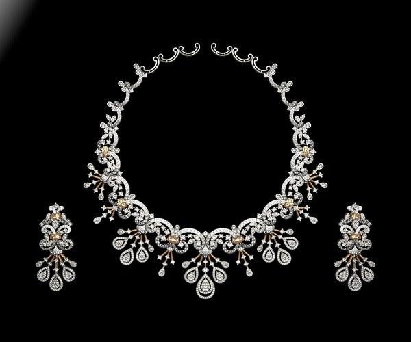 3D diamond necklace set