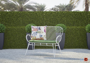 3D scroll white metal outdoor