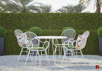 Scroll White Metal Outdoor Dining Chair with Bistro Table