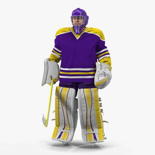 3D hockey goalkeeper fully equipped model