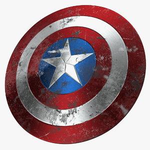 captain america damaged shield 3D