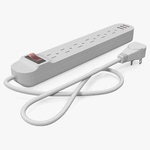 3D model power strip plug 6
