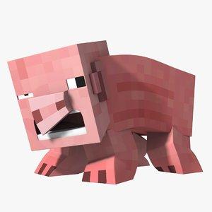 minecraft pig character rig 3D model