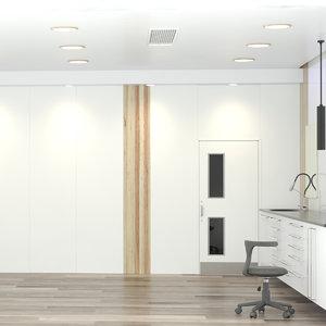 3D model office room day
