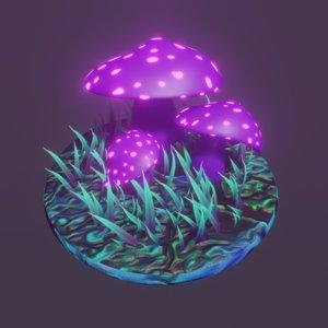 cartoon fairy mushrooms model