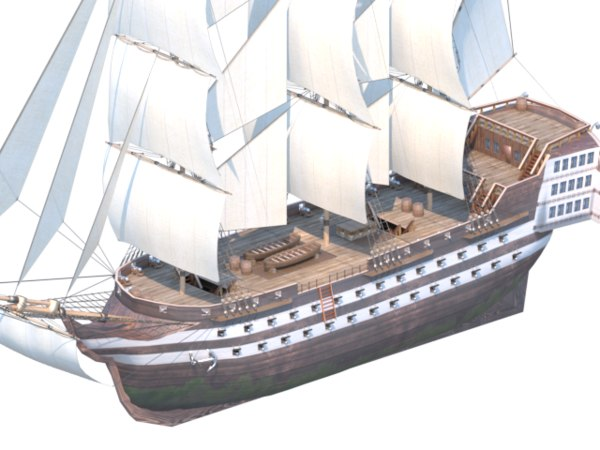 line warship 80 cannons 3D