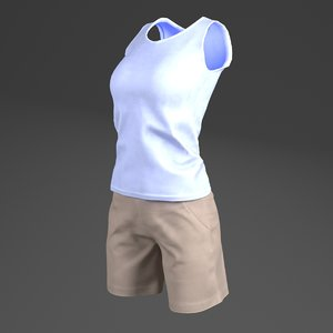 female s sleeveless shirts 3D model