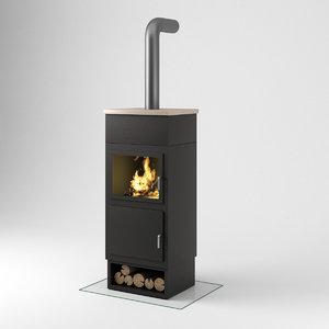 3D cast iron wood stove