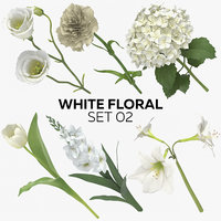 white floral set 02 model