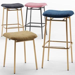 fifties backless bar stool 3D model