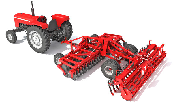 3D tractor disc harrow model