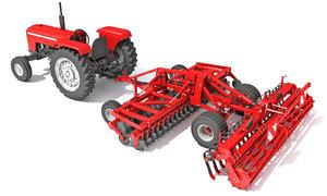 3D tractor disc harrow model