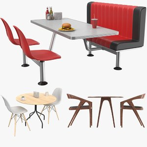 real cafe tables 3D model