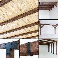 3D wooden beams aged wood model