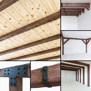 3D wooden beams aged wood model