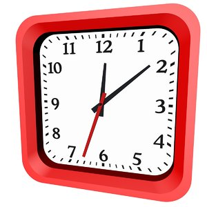 3D wall clock red