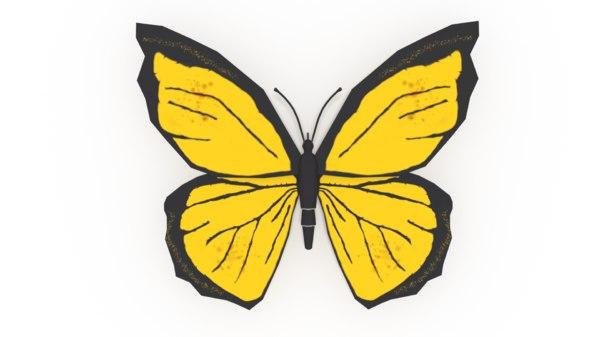 3D model yellow butterfly