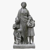 3D model woman kids statue