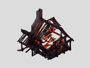 burned houses 02 3D