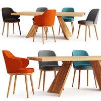 3D model table chair icaro foyer