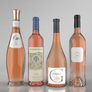 blender rose wine bottle 3D model