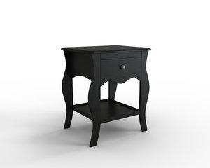 hasselvika nightstand black-brown 3D model