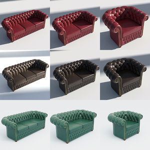 3D chesterfield red brown model