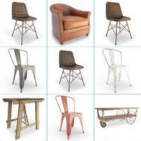 set vintage furniture chairs 3D model