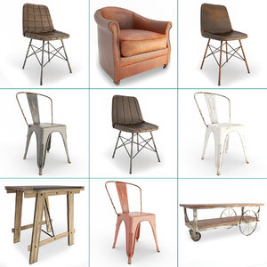 set vintage furniture chairs 3D model