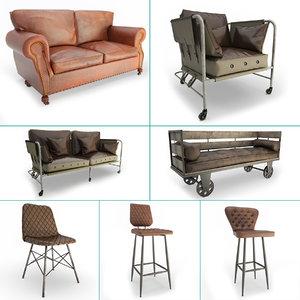 furniture vintage set stools 3D