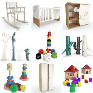 wooden baby bedroom set 3D model