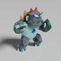 stone monster golem 3D model