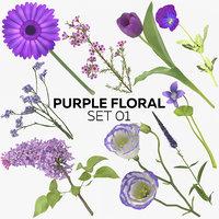 purple floral set 01 3D model