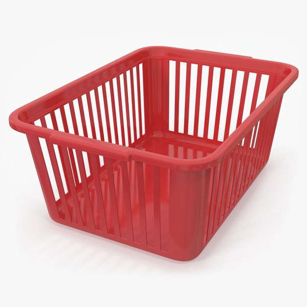 plastic handy basket red 3D