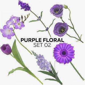 3D model purple floral set 02