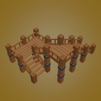 wooden stair 3D model
