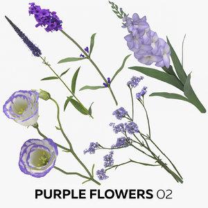 purple flowers 02 model