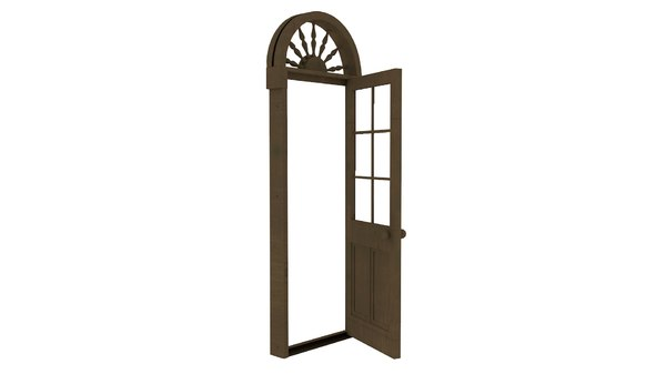 wooden door toplight 3D model