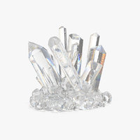 clear quartz crystals 3D