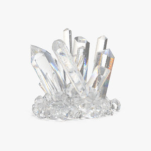 clear quartz crystals 3D
