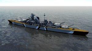 3D german battleship bismarck model